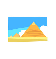 Ancient egyptian pyramids in desert blue sky and vector