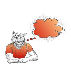 Anthropomorphic lion Man with a empty speech vector image