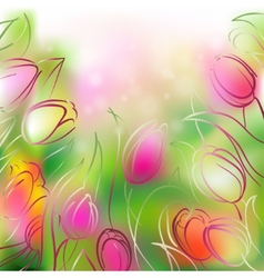 background tulips vector image vector image