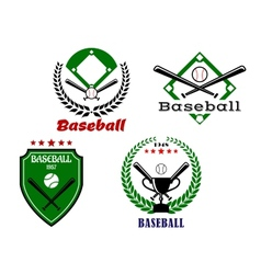 Baseball emblems with crossed bats vector