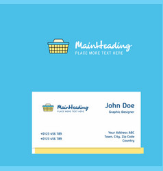 basket logo design with business card template vector image