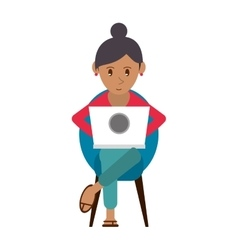 Beutiful girl using laptop sitting vector