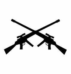 Black crossed rifles silhouette vector