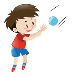 Boy in red shirt catching blue ball vector