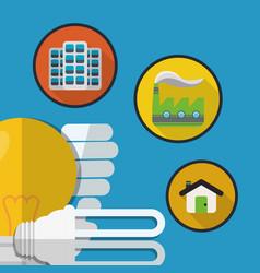 Bulb light factory home energy eco vector