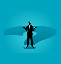 Businessman standing on question mark shadow vector