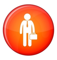 Businessman standing with his briefcase icon vector