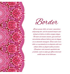Card with mandala border card or invitation red vector