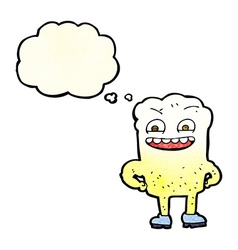 Cartoon happy tooth with thought bubble vector