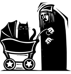 Cat Lady with Baby Carriage vector