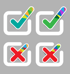 check mark and wrong mark colorful with shiny stic vector image