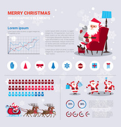 christmas and new year infographics set with santa vector image