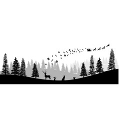 Christmas black silhouette panorama of santa vector