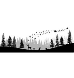 christmas black silhouette panorama santa vector image