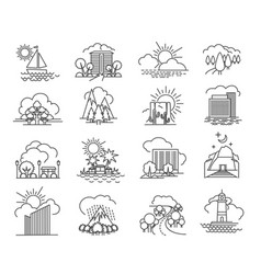 city and nature line icons vector image