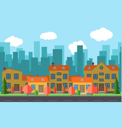 city with cartoon houses vector image