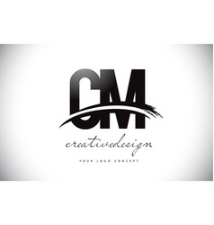 Cm c m letter logo design with swoosh and black vector