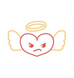 color line angry heart angel kawaii cartoon vector image
