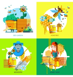 Colorful Beekeeping Concept vector