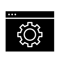 Computer settings icon gear minimal pictogram vector