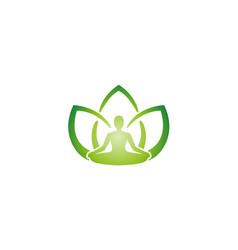 creative yoga position green leaves human vector image
