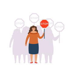 Crowd group union fight for equal rights stop sign vector