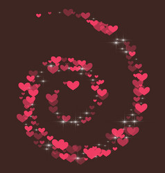 cute background with hearts on a brown background vector image