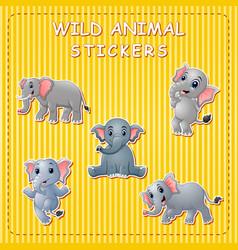cute cartoon elephants on sticker vector image