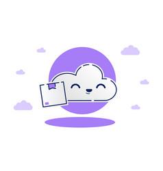 Cute cloud delivery flying cloud deliver parcel vector