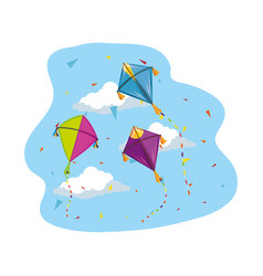 Cute kites flying in sky vector