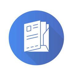 Document folder flat design long shadow glyph vector