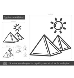 Egyptian pyramid line icon vector