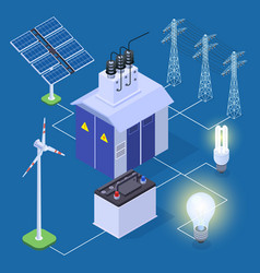 electric power isometric concept with vector image