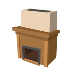 Fireplace cartoon icon vector image