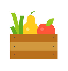 Fresh fruits and vegetable in wooden crate vector