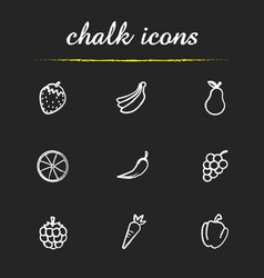fruit and vegetables chalk icons set vector image