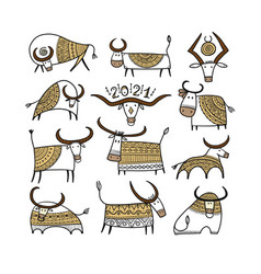 funny sketch bull collection lunar horoscope sign vector image