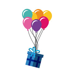 gift box and colorful balloons vector image