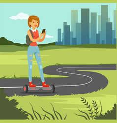 girl girl with phone riding on gyroscope on city vector image