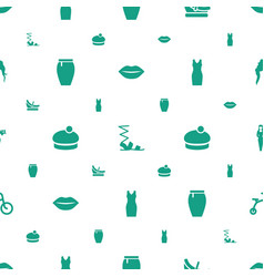 Girl icons pattern seamless white background vector