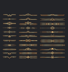 Golden art deco dividers vintage gold ornaments vector