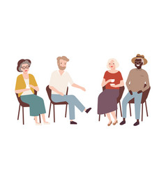 Group of elderly men and women sitting on chairs vector