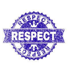 Grunge textured respect stamp seal with ribbon vector