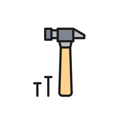hammer and nails building tools flat color line vector image