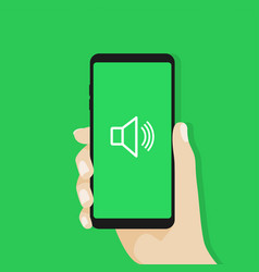 hand holding smartphone sound volume on vector image