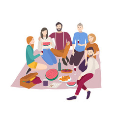 Happy friends having dinner outdoor isolated on vector