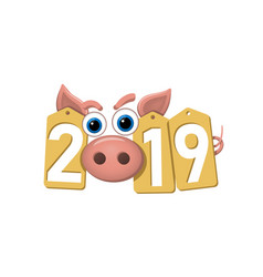 Happy new year background pink pig gold sale vector