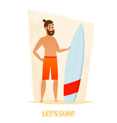 happy surfer with surf board on beach vector image