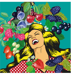 Happy woman with berries background vector