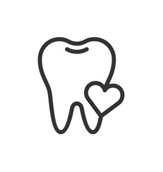 Heart healthy tooth cute icon vector
